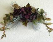 Winter Amaryllis with Iced Pine & Laurel Leaf Swag Purple