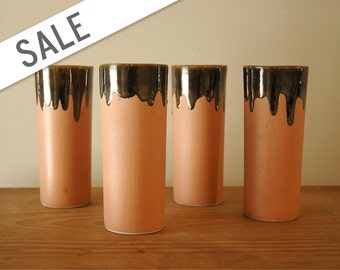Terra Cotta Tumblers Drip Brown Glaze - Set of 4 - Vintage Handmade Glasses Cups Vases Pottery SALE