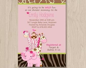 Pink Jungle Baby Shower Invitation - DIY Custom Printable
