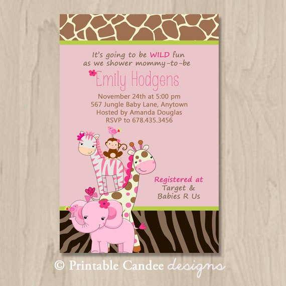 items similar to pink jungle baby shower invitation