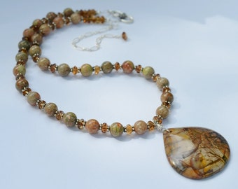 Autumn Jasper Sterling Silver Beaded Necklace / Gemstone Statement Necklace / 18 - 21 inches