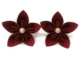 Solid Deep Red Flowers with White Pearl Embellishments Paper Scatter / Decor / Cake Table Flowers Kusudama