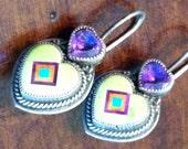 Green Turquoise and Purple Amethyst Heart Earrings