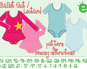 ballet suit leotard size 92 - 152 (= 2T to 12 years) pdf and pattern // instructions in English or German