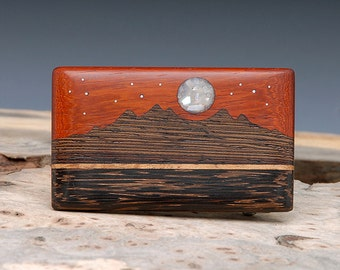 Exotic Wood & Mother of Pearl Inlaid Belt Buckle - Handmade - Mountain Landscape