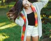 Autumn Colors Scarf in Orange, Yellow and Green Fashion Scarf Hand Knitted