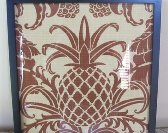 Tommy Bahama pineapple fabric in  12 x 12 frame