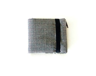 Mens Bifold Wallet, Houndstooth Wallet, Black Wallet, Mens Wallet