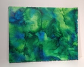 Melted Crayon Art in Blues and Greens on 11 x 14 Stretched Canvas
