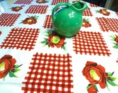 Wilendure Gingham and Red Rose Book Piece Tablecloth