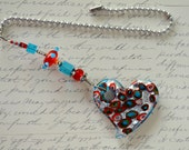 Red, white and blue Heart Ceiling Fan Pull