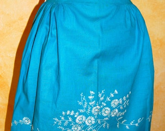 Vintage Turquoise Embroidered Half Apron