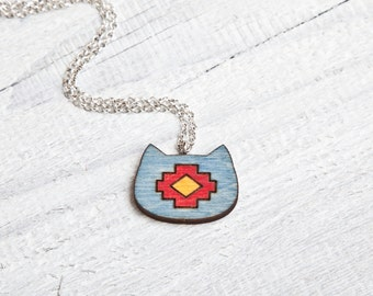 Cat Necklace Wood Cat Face Pendant Tribal Blue Pendant Cat Jewelry Cute Cat Native American Jewelry Girlfriend Gift Kids Necklace