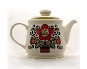 Retro Sadler Teapot - Red Flower Teapot - Classic 60's Style - Flower Power Era - Bohemian - Stoneware Teapot -Made in Staffordshire England