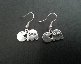 Silver Pacman Earrings