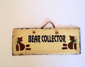 Vintage Slate Wall Hanging, 'Bear Collector'