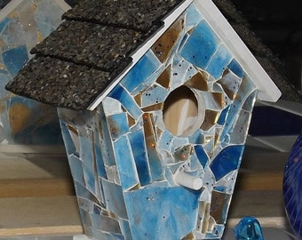 Blue Heaven Shattered Mosaic Glass Birdhouse