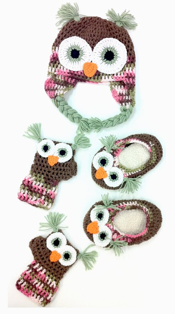 ADULT Owl Hat Combo with Mittens and Slippers