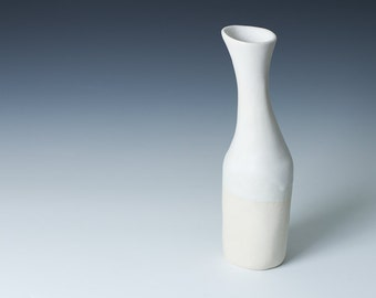 """50% off SALE: 8.5""""  White Matte Stoneware Hourglass Flower Bud Vase /  Unique flower vase for gift - Ceramic Pottery - ready to ship"""