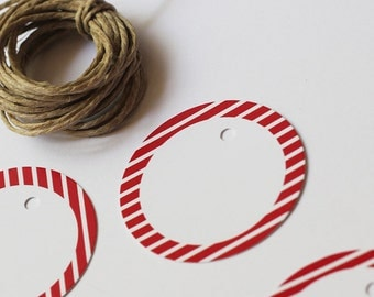 Red stripes rounded tags