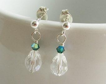 Sales Clearance, Green Crystal Earrings, Teardrop Clear Crystal Sterling Silver Earrings, Emerald Green Swarovski Crystal, Post Earrings