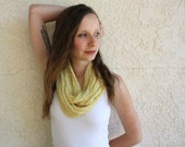 SALE! Up-cycled Yellow Circle Scarf - Pale yellow - Butter Yellow - Loop Scarf - Embroidery - Spring Fashion - Sunshine