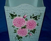Wood Trash Can Custom Hand Painted Waste Basket Pink Roses Garbage Can Decorative Shabby Chic Office Bathroom Home Decor Housewarming Gift
