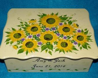 Wedding Box Personalized Wood Card Box Wedding Reception Guest Box Large Keepsake Box Love Letter Painted Sunflower Wedding Decoration Gift