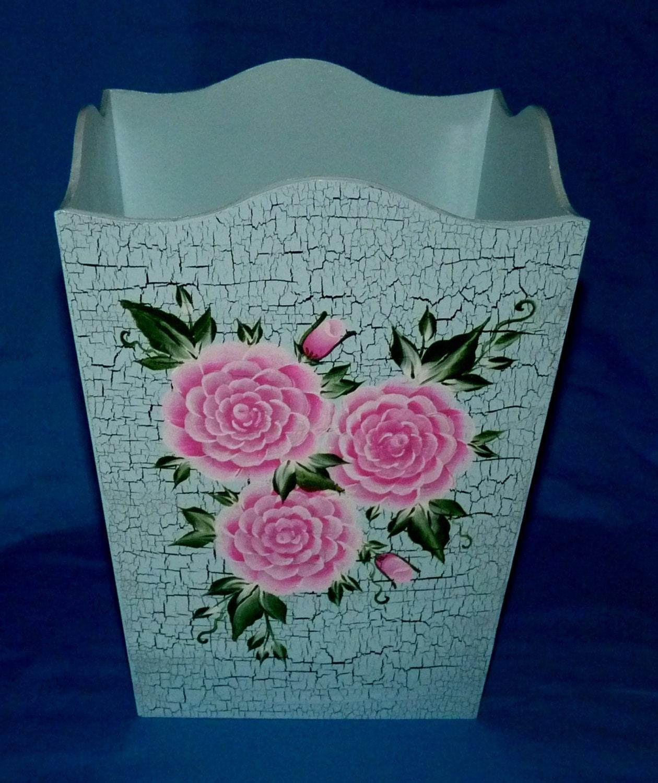 Wood Trash Can Custom Hand Painted Waste Basket Pink Roses
