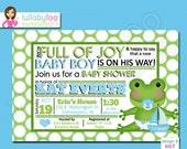 Frog Baby Boy Shower Invitations - Printed Baby Shower Invitations - Custom Invitations