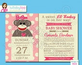 Pink Sock Monkey Baby Shower Invitations for Baby Girl - Baby Girl Shower Invites -  Printed Invitations - Lullaby Loo Invitation No. 022