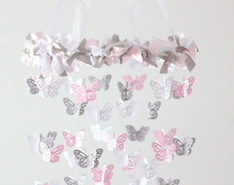 Pink & Gray Nursery Butterfly Mobile, Photography Prop,  Baby Shower Gift