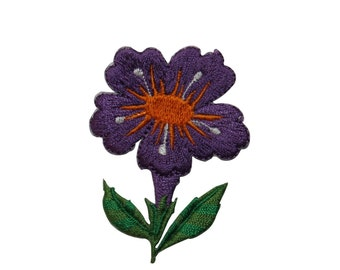 ID #6506 Purple Orange Flower Plant Iron On Embroidered Patch Applique