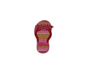 ID #7402 Pink Sandal Flip Flop Left Fashion Iron On Embroidered Patch Applique