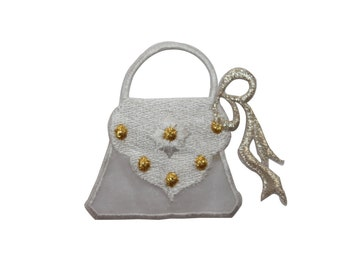 ID #7984 White Gold Dotted Purse Bag Fashion Iron On Embroidered Patch Applique