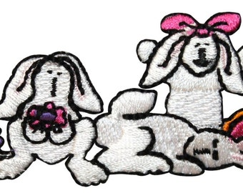 ID #3334 Bunny Bunnies Rabbit Easter Animal Embroidered Iron On Applique Patch