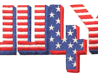 ID #1011 4th of July America Patriotic Flag Embroidered Iron On Badge Applique Patch