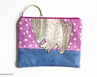 One-of-a-kind Hand Painted Fruit Bat Clutch