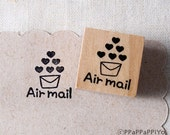 40% OFF SALE Airmail with heart 01 Rubber Stamp (20mm)
