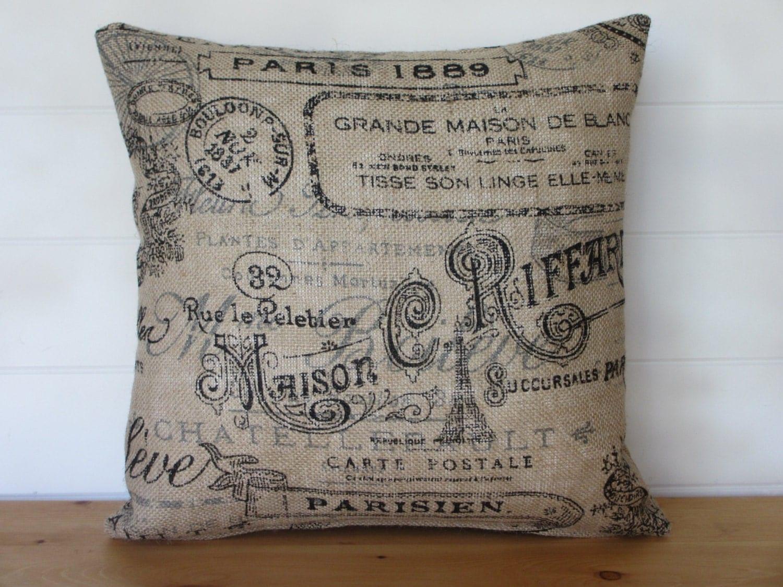 Burlap Pillow Cover Paris French Script Burlap Pillows