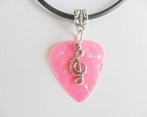 """Pink Guitar pick necklace with treble clef charm music note that is adjustable from 18"""" to 20"""""""