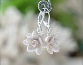White Gardenia Earrings, White Flower Earrings, White Bridal Earrings, White Wedding Jewelry, Gardenia Jewelry
