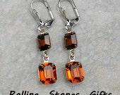 Octagon 2 Stone Smoked Topaz & Madera Topaz Swarovski Lever back Rhinestone Earrings-Octagon,Dangle Earrings -Leverback Earrings