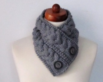 Grey Hand Knitted Cowl Scarf With  Buttons-Neckwarmer Winter Accessories,Fall Fashion.Holiday Accossories,Chunky Scarf,ideal gift (7)