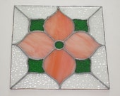 Vintage Stained Leaded Glass Peach Color Flower Panel