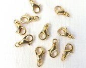 Swivel Clasp 10 pieces Lobster claw gold plate brass 12x7mm Craft Supplies Jewelry & Beading Findings Clasps