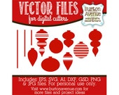Christmas Ornaments Vector Digital Cut File (eps,svg, gsd,dxf, ai, jpg, png)
