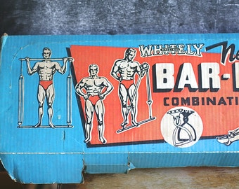 SALE! Was 98 now 49! Vintage Exercise Set, Workout Gear, Whitley Bar Bell, Combination New Progressive Exerciser 1959
