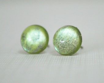 Apollo - Apple Green, Lemon Yellow and Grey - Color Shifting - Stainless Steel Stud Earrings