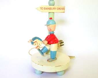Vintage Childrens Lamp, Painted Wooden Banbury Cross Lighting Fixture, Shabby Chic Decor